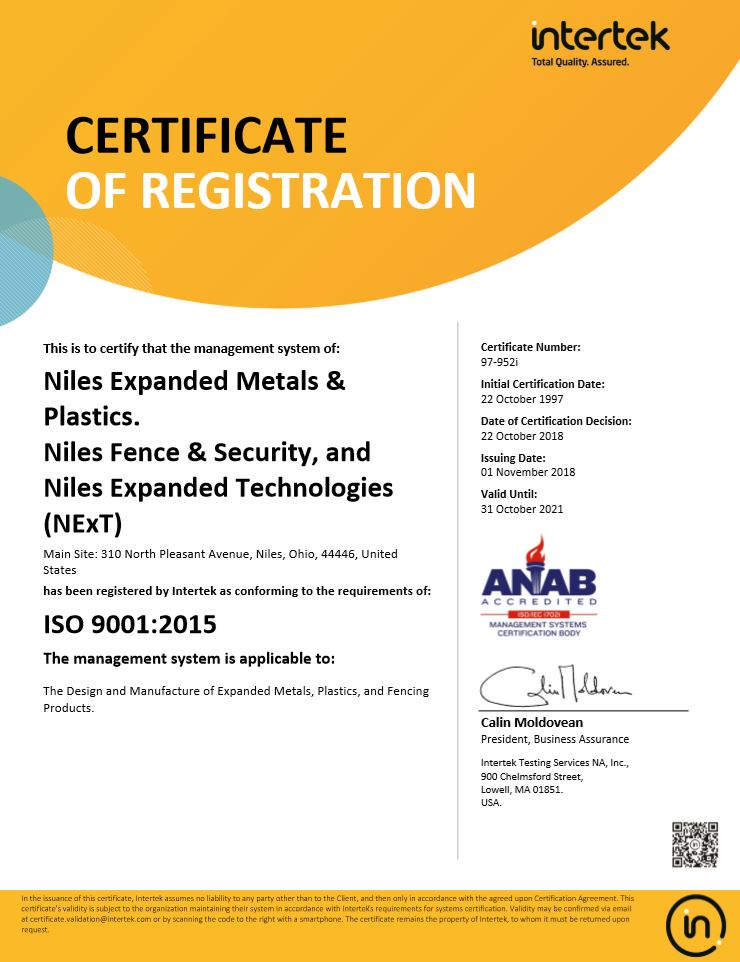 Quality | Niles Expanded Metals